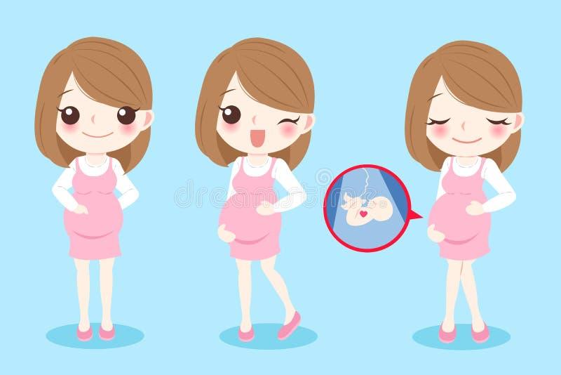 Mulher gravida dos desenhos animados ilustração stock