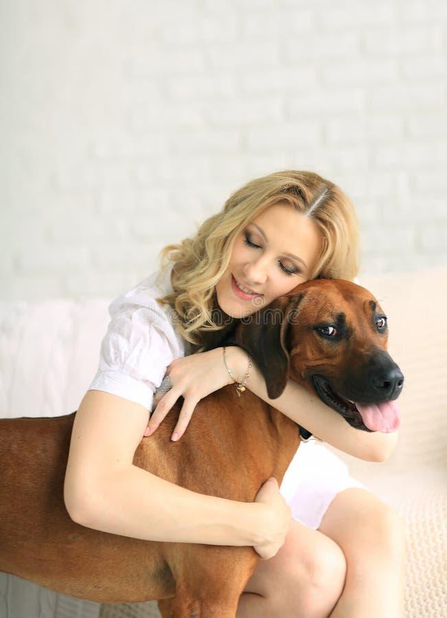 Mulher gravida e um cão que senta-se no sofá fotos de stock
