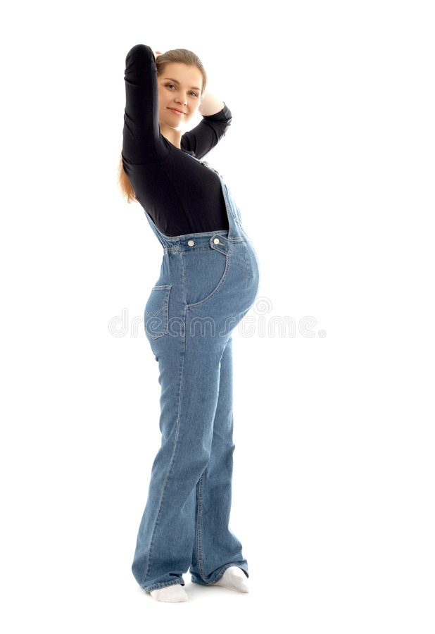 Mulher gravida encantadora que elabora fotografia de stock royalty free