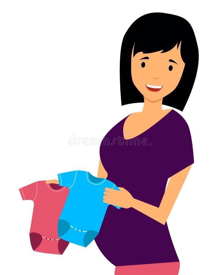 A mulher gravida escolhe a roupa ilustração stock