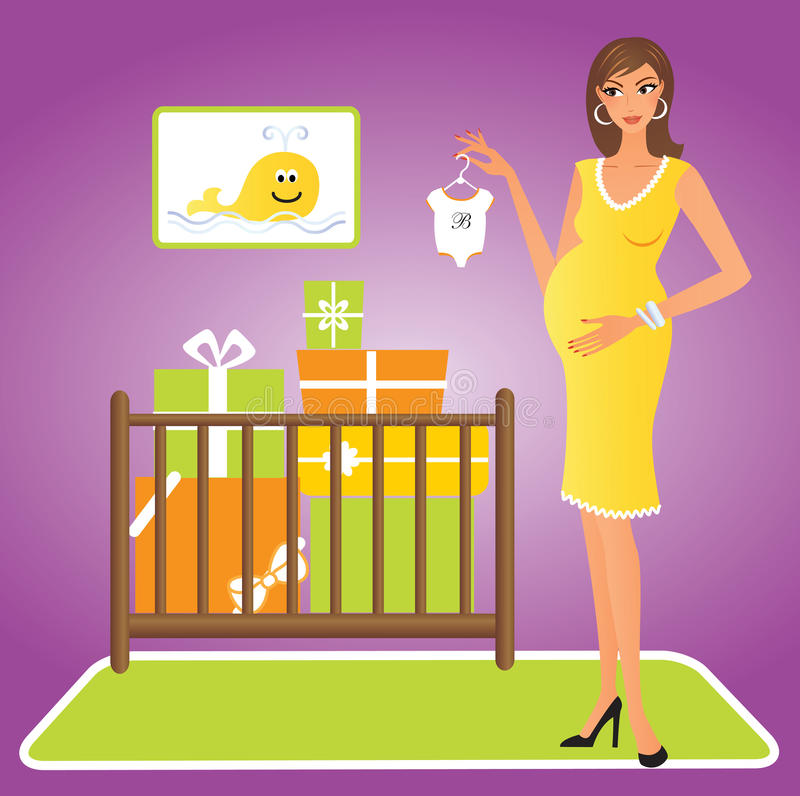 Mulher gravida feliz ilustração royalty free