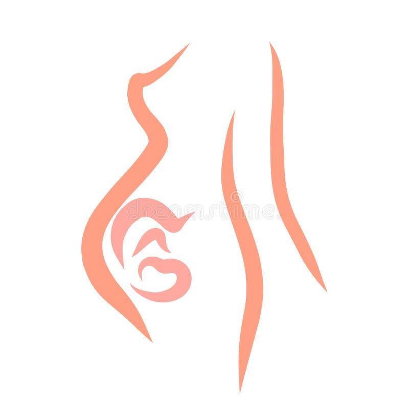 Mulher gravida, lateralmente, bladenets no ventre ilustração stock