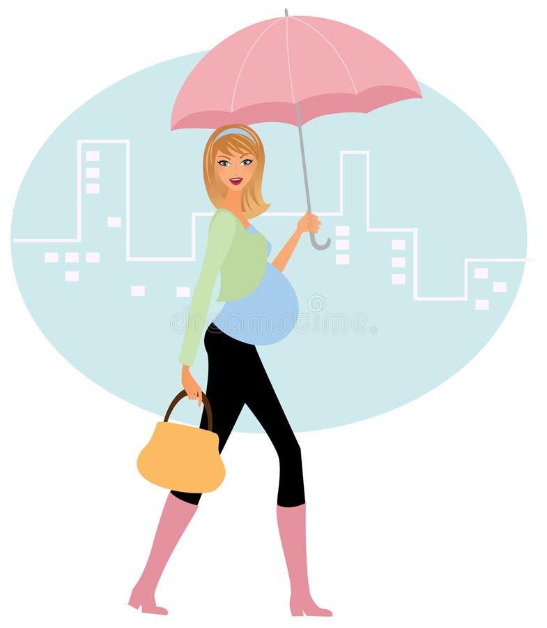 Mulher gravida na chuva ilustração stock