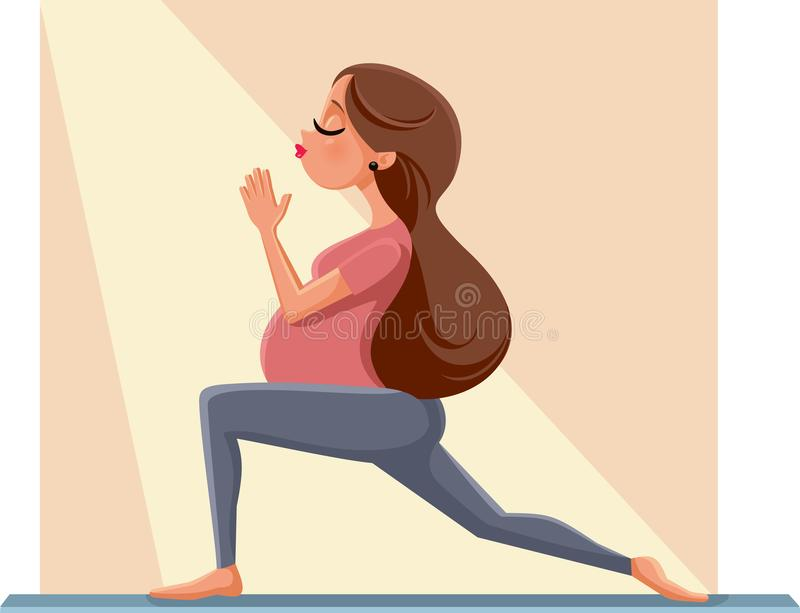 Mulher gravida na ilustração pré-natal dos desenhos animados da pose da ioga ilustração stock