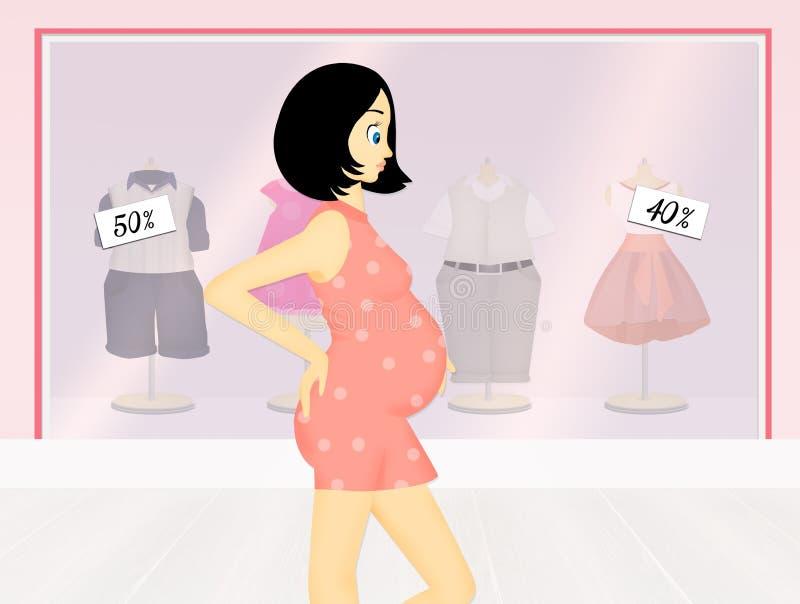 Mulher gravida na loja do bebê ilustração stock