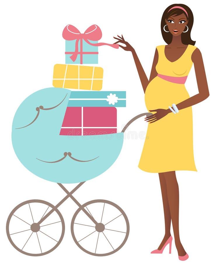 Mulher gravida nova com presentes ilustração do vetor
