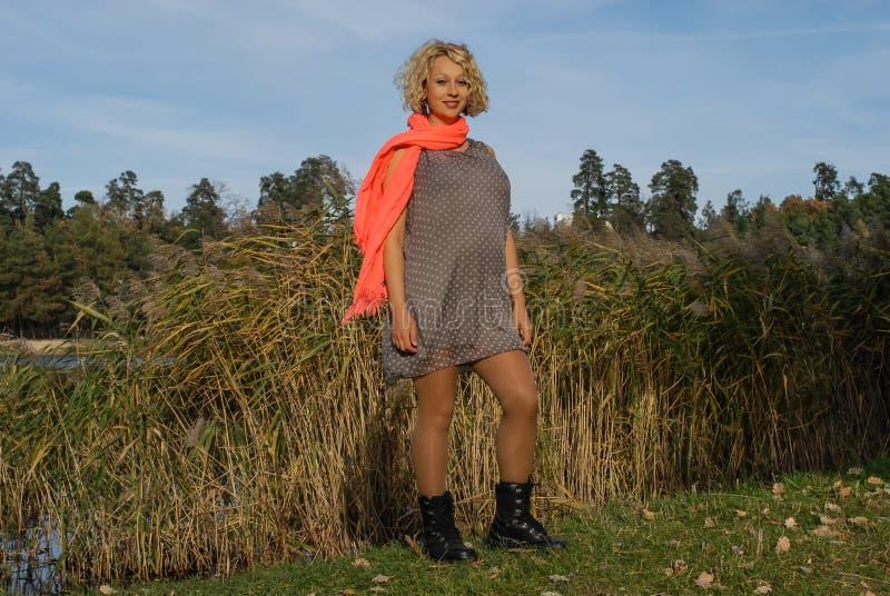 Mulher gravida nova no lenço alaranjado que está no parque do outono foto de stock royalty free