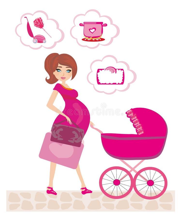 A mulher gravida que empurra um carrinho de criança e pensa dos trabalhos de casa ilustração royalty free