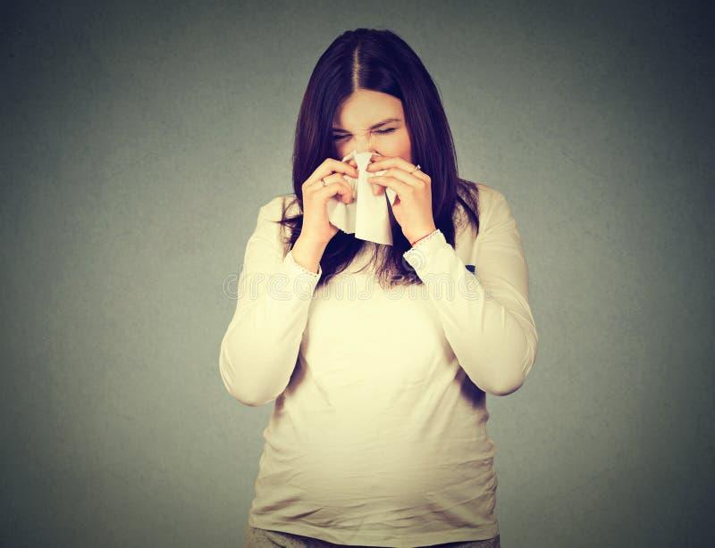 Mulher gravida que espirra tendo o frio que funde o nariz ralo fotos de stock