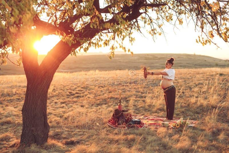 Mulher gravida que faz a ioga no campo no por do sol Menina que guarda um coletor ideal e que faz o exercício fotografia de stock royalty free