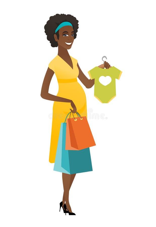 Mulher gravida que mostra o bodysuit do bebê ilustração do vetor