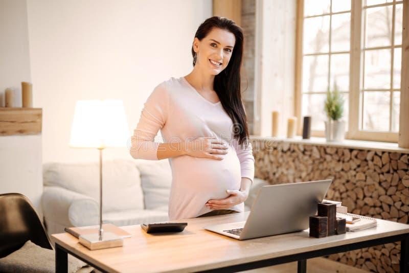 Mulher gravida segura que decide trabalhar em casa fotos de stock