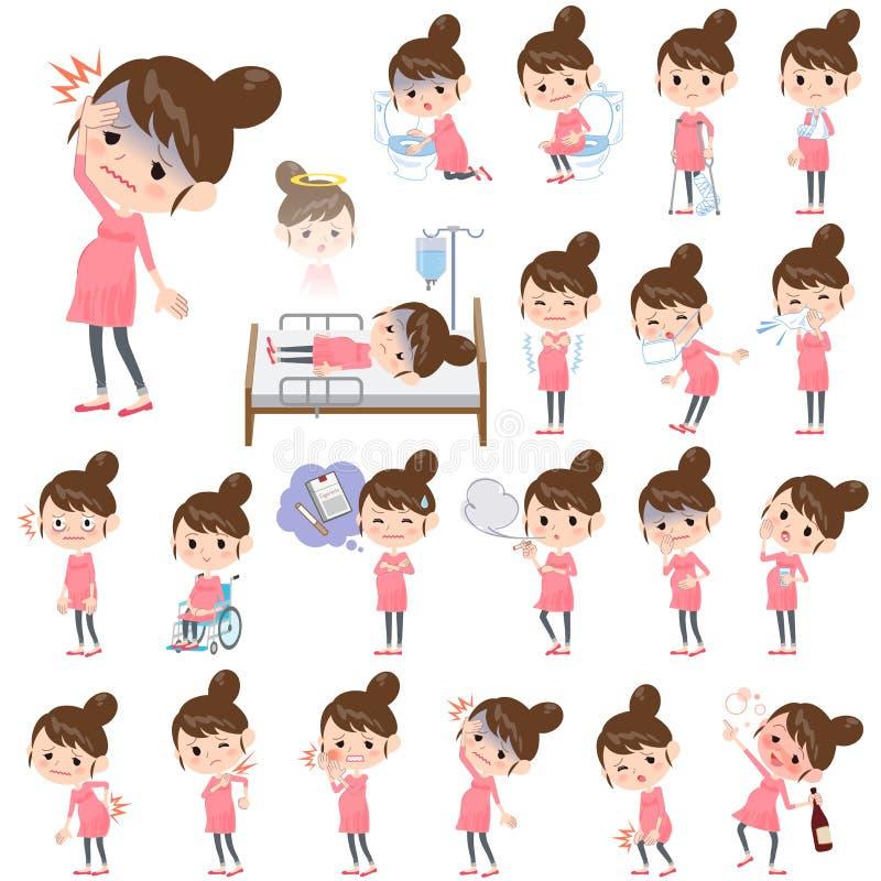 Mulher gravida sobre a doença ilustração stock