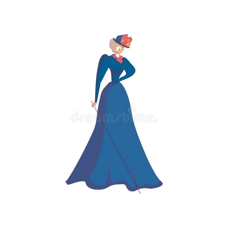Mulher grisalho elegante em um vestido e em um chapéu azuis longos Ilustra??o do vetor no fundo branco ilustração do vetor