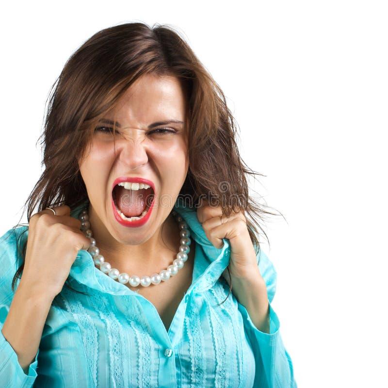 Mulher gritando foto de stock