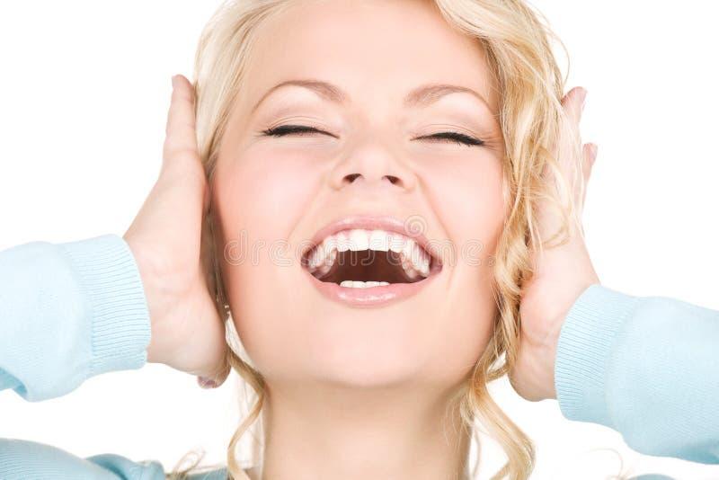Mulher gritando feliz fotografia de stock royalty free
