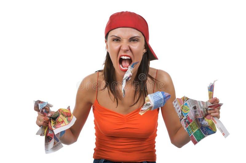 Mulher gritando irritada fotos de stock royalty free