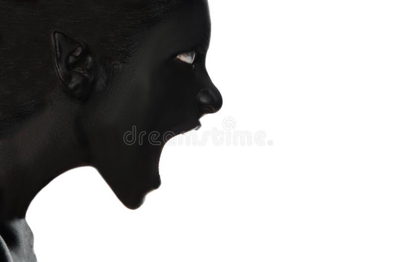 Mulher gritando na pintura preta no branco foto de stock royalty free