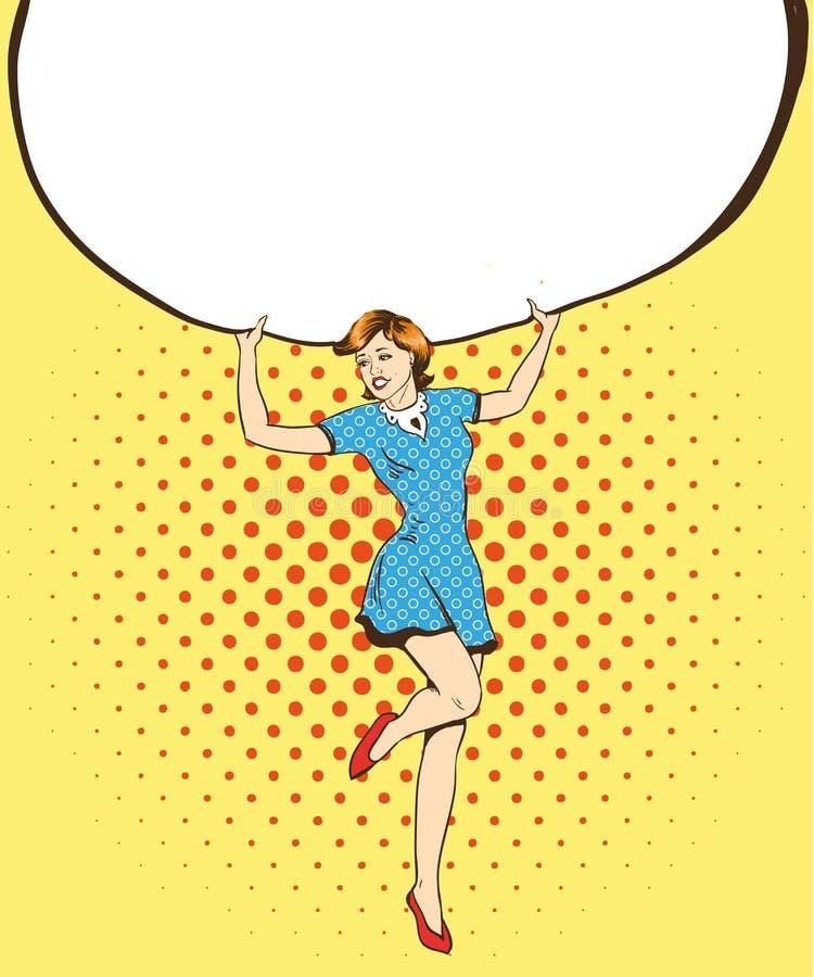 A mulher guarda o cartaz vazio do Livro Branco Ilustração retro cômica do vetor do estilo do pop art Põe seu próprio molde do tex ilustração royalty free