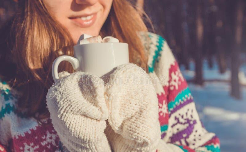 A mulher guarda a xícara de café com o marshmallow na floresta do inverno foto de stock royalty free