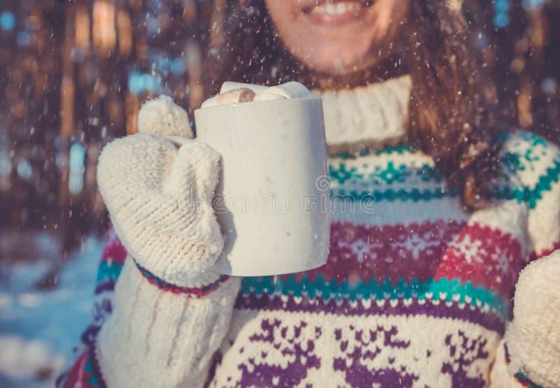 A mulher guarda a xícara de café com o marshmallow na floresta do inverno fotos de stock