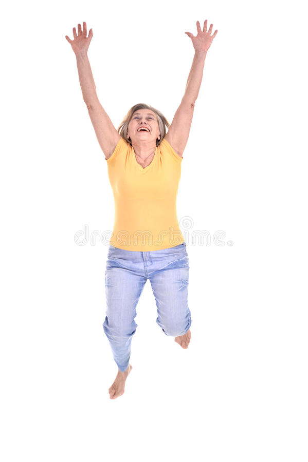 Mulher idosa alegre fotografia de stock