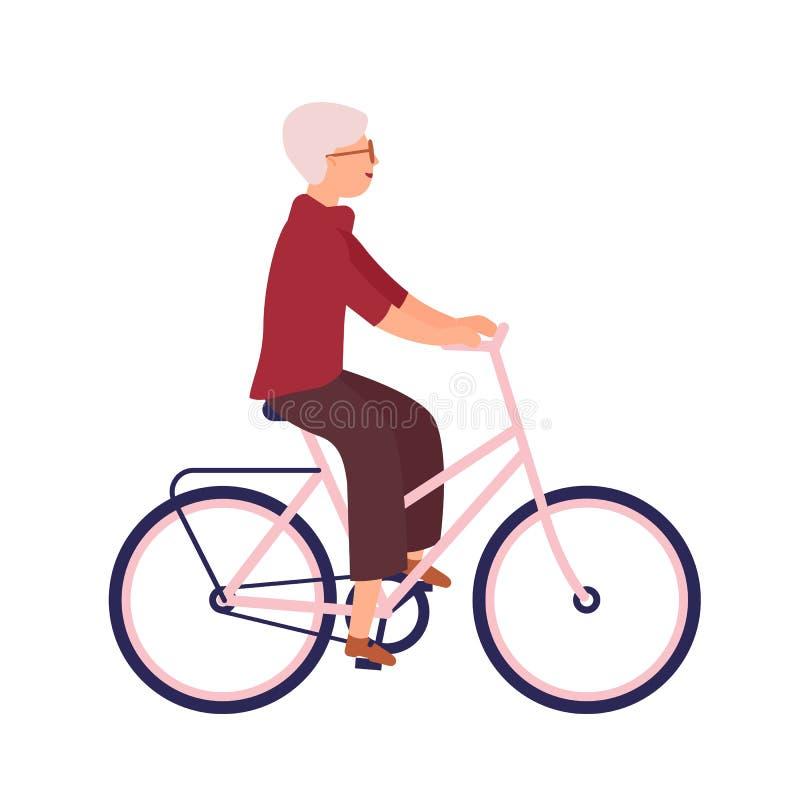 Mulher idosa bonita vestida na roupa ocasional que monta a bicicleta Senhora idosa de sorriso bonito na bicicleta com seu animal  ilustração royalty free