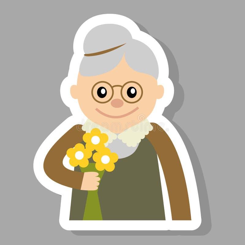 Mulher idosa com ilustração do vetor do ícone das flores Cara de velho, estilo dos desenhos animados dos ícones dos povos ilustração do vetor