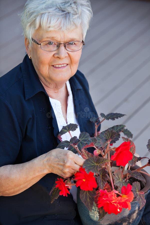 Mulher idosa com potenciômetro de flor fotografia de stock royalty free