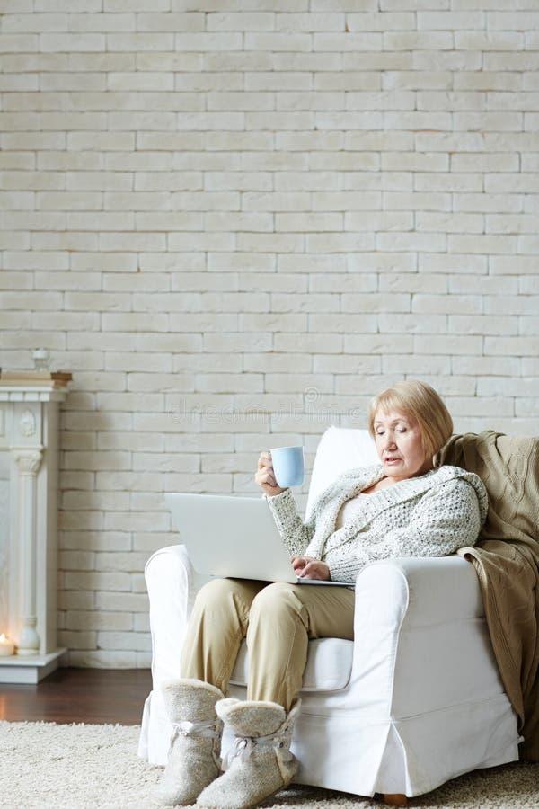 Mulher idosa concentrada que usa o computador imagem de stock