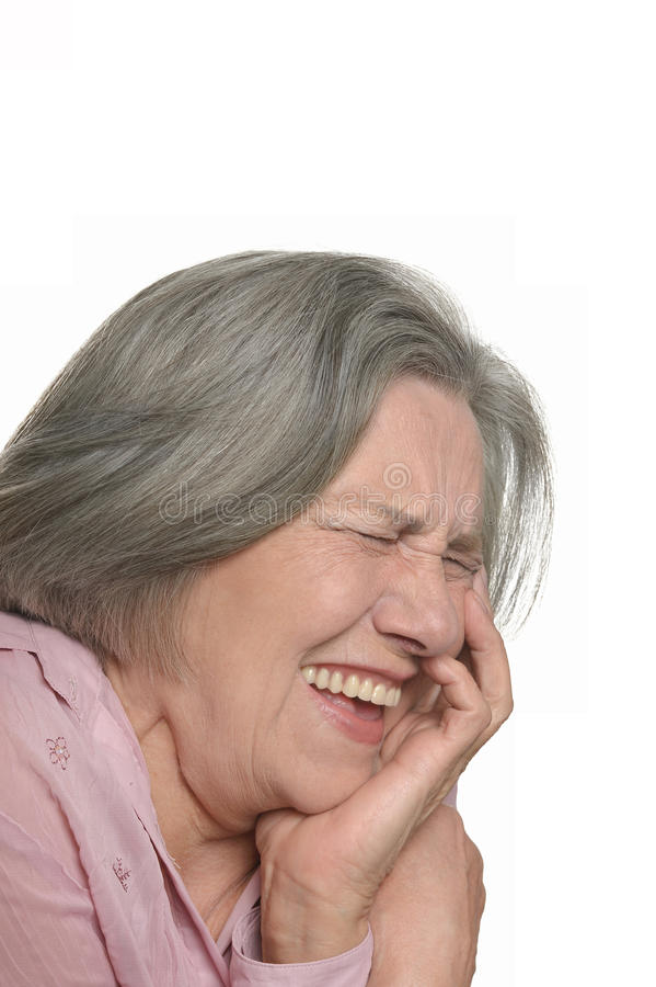 Mulher idosa de riso isolada imagem de stock royalty free