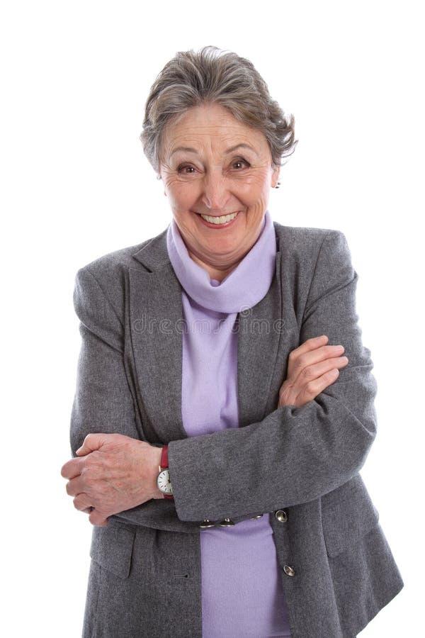 Mulher idosa de riso - mulher mais idosa isolada no backgroun branco fotos de stock royalty free