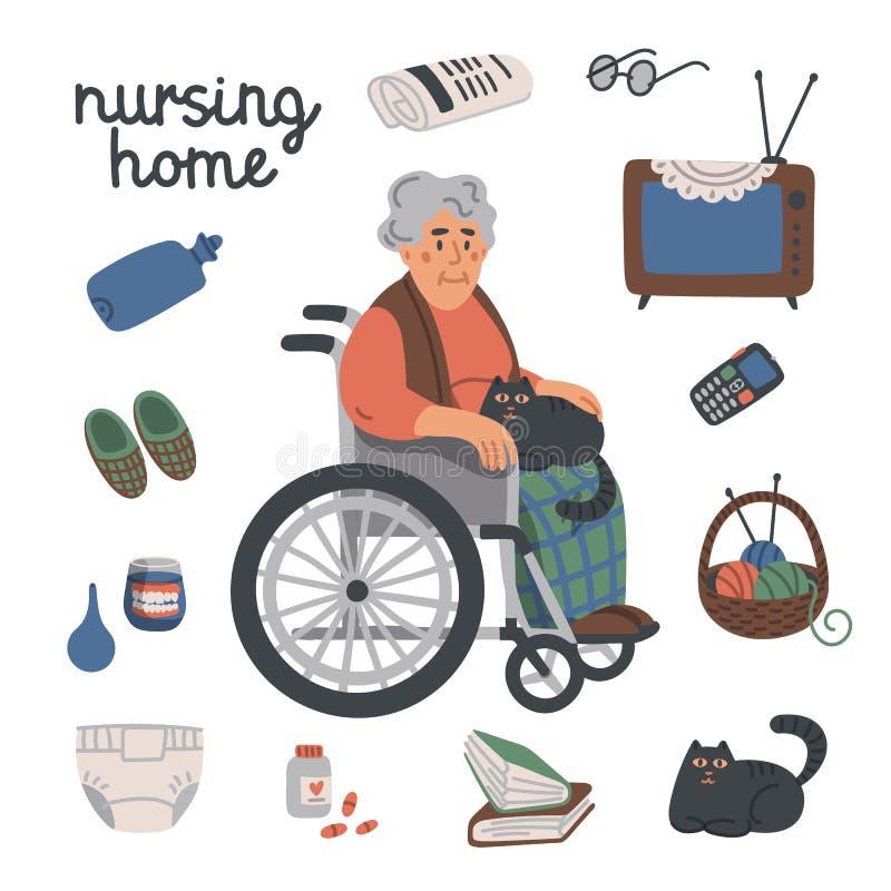 Mulher idosa em artigos da cadeira de rodas e do lar de idosos no fundo branco, conceito dos cuidados m?dicos Lar de idosos s?nio ilustração royalty free