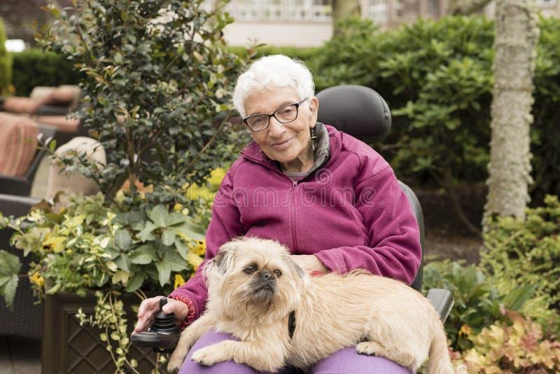 Mulher idosa independente fora na cadeira de rodas com cão fotos de stock