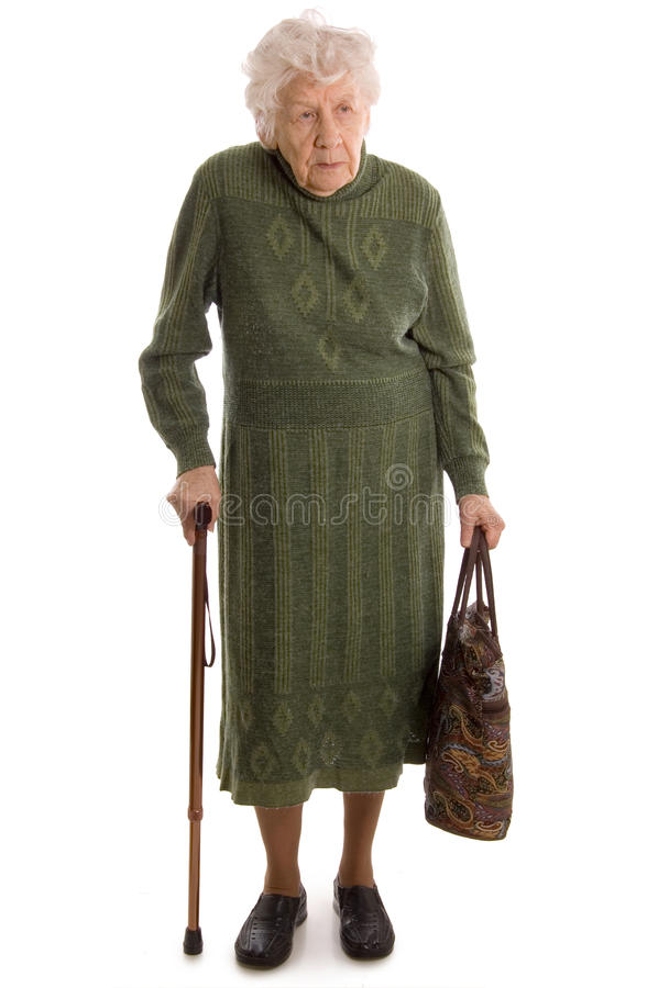 A mulher idosa isolada no branco foto de stock royalty free