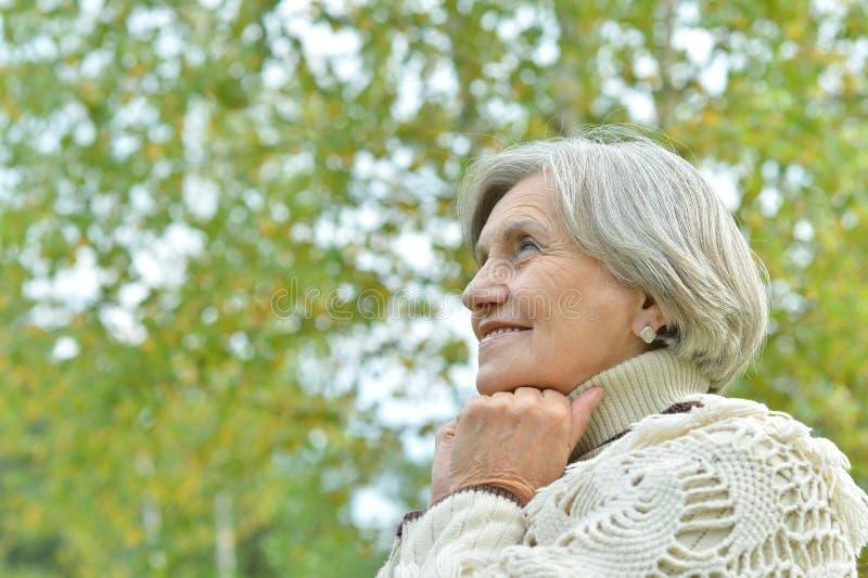Mulher idosa no parque do outono fotos de stock royalty free