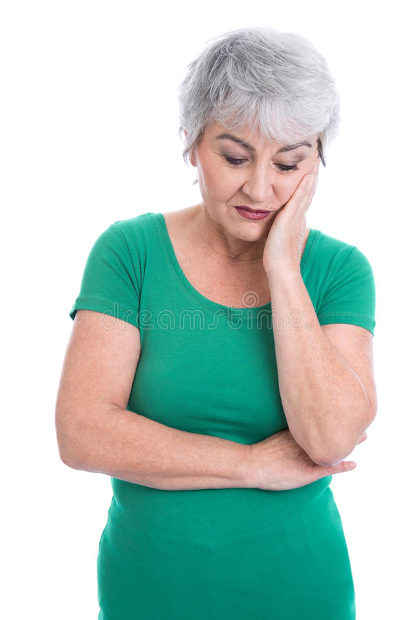Mulher idosa preocupada no verde - isolado no branco imagens de stock royalty free