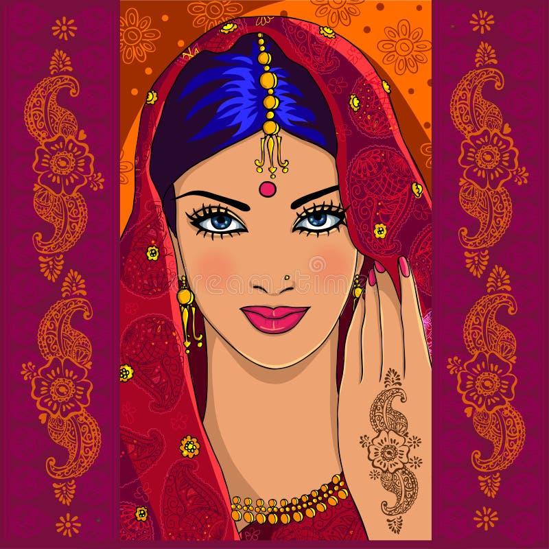 Mulher indiana com mehndi ilustração royalty free