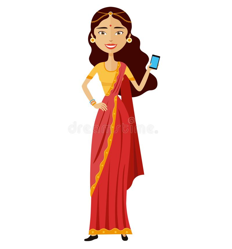 Mulher indiana com vetor do telefone celular isolada no branco ilustração royalty free