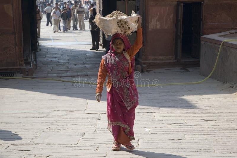 A mulher indiana leva a areia em sua cabeça Mulher indiana Índia, Deli nova 31 de janeiro de 2009 imagens de stock