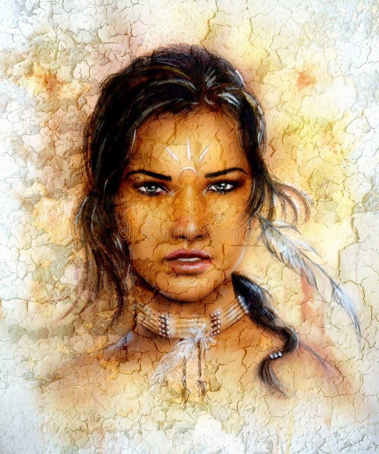 A mulher indiana nova de pintura que veste uma pena, eye cont, fundo dos estalidos ilustração royalty free