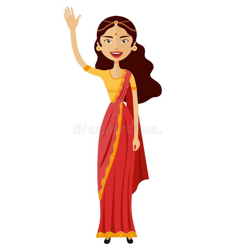 Mulher indiana que acena seu vetor liso dos desenhos animados da mão ilustração do vetor