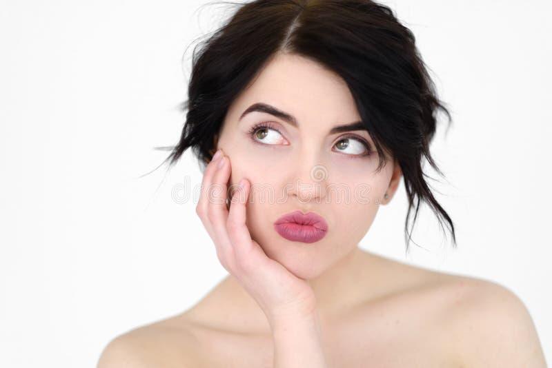 Mulher indiferente desinteressado furada cara da emoção fotografia de stock royalty free