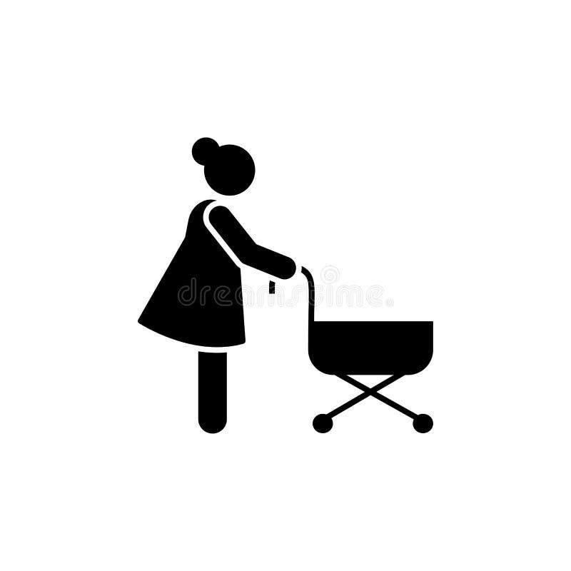 Mulher, infante, parque, ícone da caminhada Elemento do ícone rotineiro diário ilustração royalty free