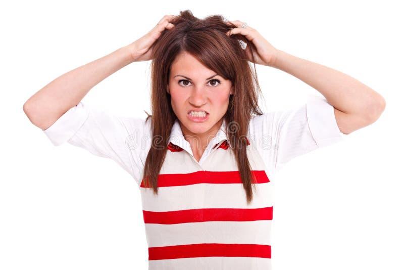 Mulher irritada fotografia de stock