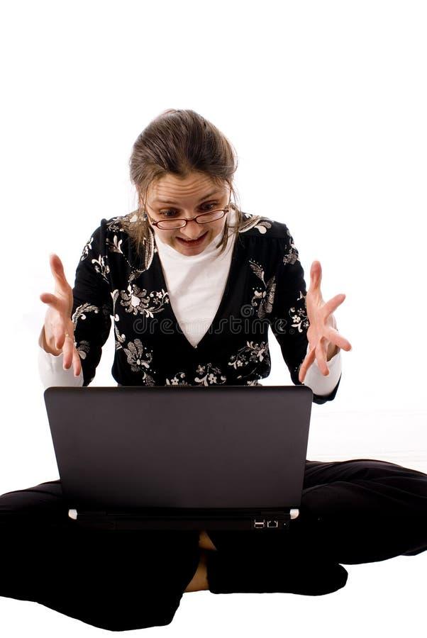 Mulher irritada do caderno imagens de stock royalty free