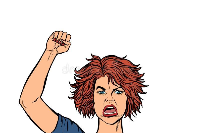 Mulher irritada do protestador, democracia da liberdade da resistência da reunião ilustração stock