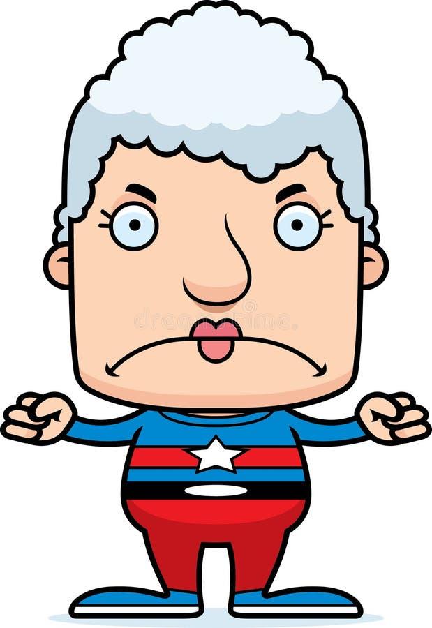 Mulher irritada do super-herói dos desenhos animados ilustração stock
