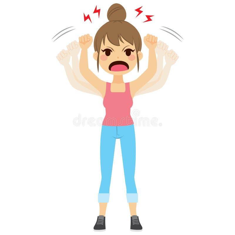 Mulher irritada que agita os punhos ilustração do vetor