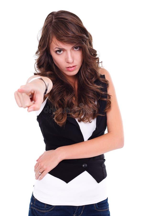 Mulher irritada que aponta a nós fotos de stock
